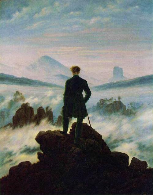霧の海を眺めるさすらい人