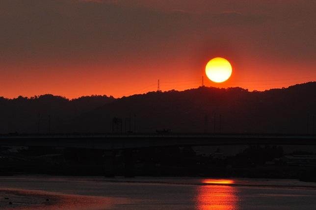 百齡橋河川公園の日没(2)