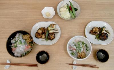海鮮丼と野菜の照り焼き 2009.7.27