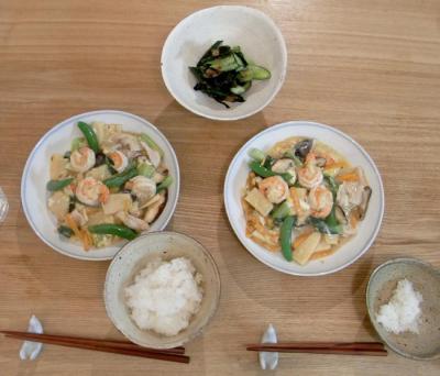 八宝菜とキュウリの梅干し和え 2009.7.27