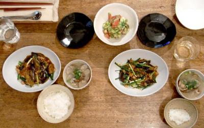 麻婆茄子とタコとアボガドのサラダ 2009.8.8
