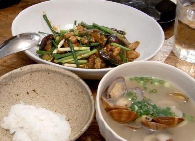 麻婆茄子とあさりのお味噌汁 2009.8.8
