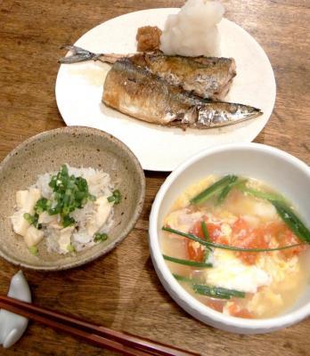 秋刀魚と炊込みご飯とスープ 2009.8.14