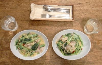 鯵と小松菜のパスタ 2009.8.15