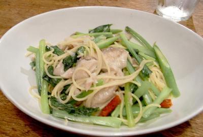 鯵がおいしい!小松菜のパスタ。2009.8.15