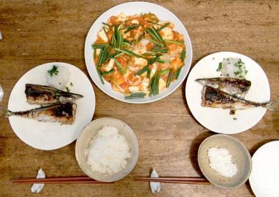海老チリ豆腐と秋刀魚の塩焼き 2009.8.17
