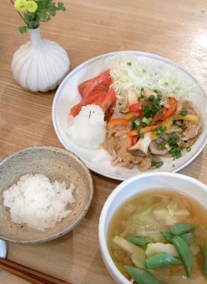 豚の生姜焼きと赤味噌のお味噌汁 2009.8.21