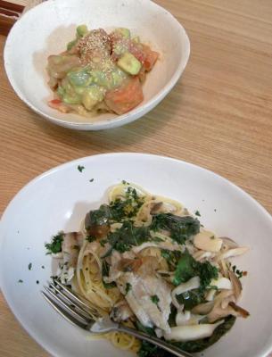 イワシのパスタとアボガドのサラダ 2009.8.27