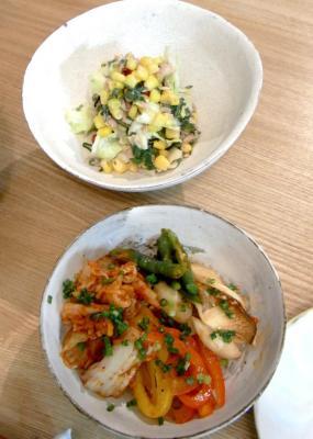 キムチ丼とキャベツとツナのサラダ 2009.9.4