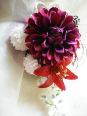 赤紫ダリアの髪飾り1