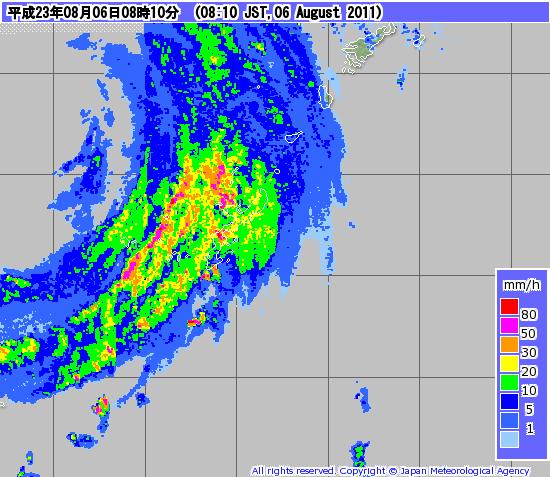 台風9号 2011.08.06 08:10