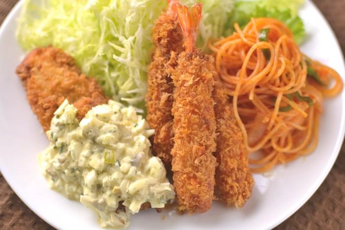 海老と白身魚(ホキ)のフライ