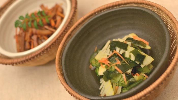 筍と胡瓜とわかめの酢の物・筍キンピラ