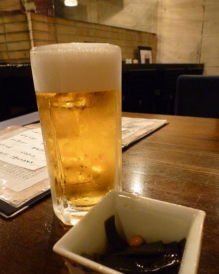 『おりじん』 生ビールとお通し