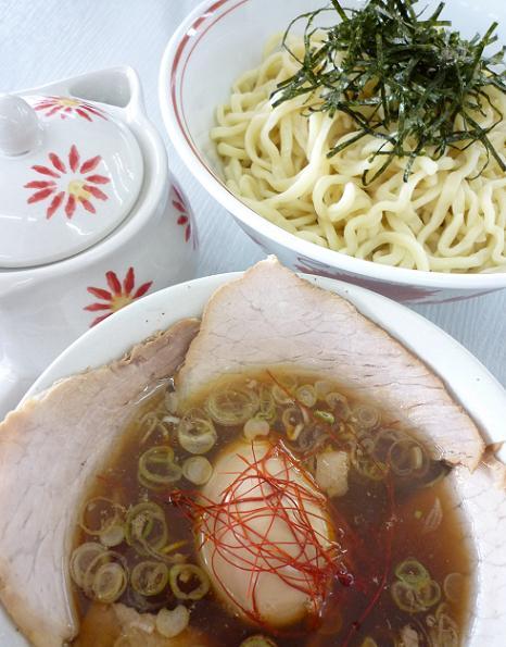 『龍横健』 肉つけそば・熱熟味玉付き(アップ)