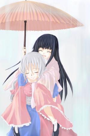 雨の中で二人