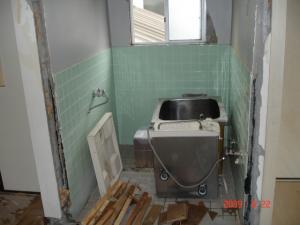 バス(お風呂)の入り口壁面を撤去