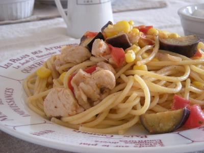 夏野菜パスタで朝ごはん_convert_20090804144651