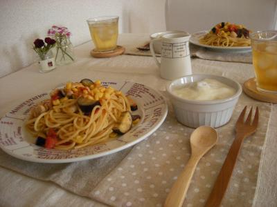 夏野菜パスタで朝ごはん2_convert_20090804144805