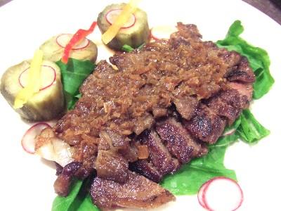 黒毛和牛リブロース(A5)と焼き茄子の麻辣ソース
