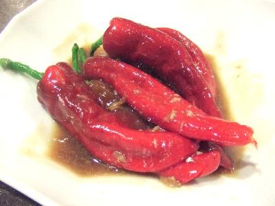 自家菜園紅い万願寺唐辛子の塩漬け魚ソース
