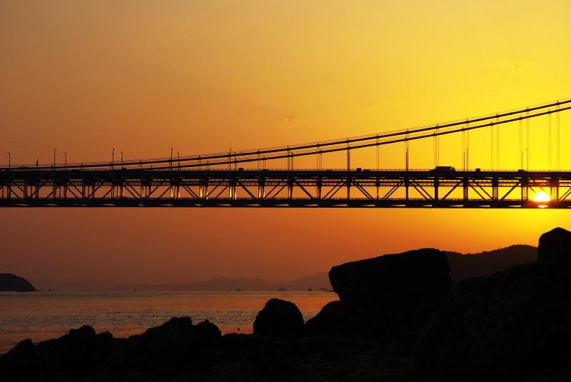 瀬戸大橋と夕日1