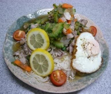 ゴーヤと豚シャブ素麺サラダ