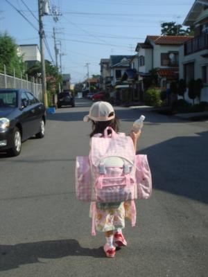 1年生の夏 : リュックサック姿
