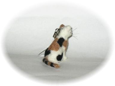羊毛フェルト☆三毛猫のストラップ