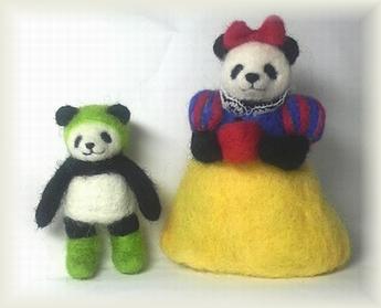 羊毛フェルト★パンダ雪姫と子パンダ