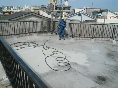 コーポアリス外壁塗装 屋上高圧洗浄