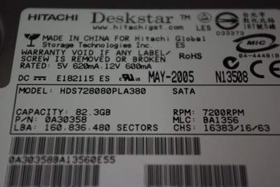HITACHI Deskstar 7K80 HDS728080PLA380