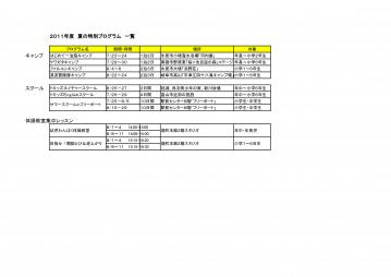 富山YMCAサマープログラムスケジュール