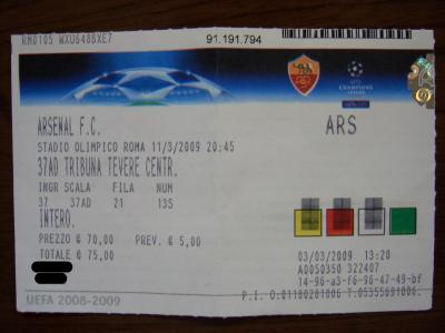 ローマ×アーセナルのチケット