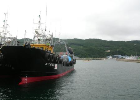 漁港停泊の船の向こう